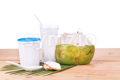 Refreshing natural coconut juice with yogurt drinks helps digestion Stock Photo