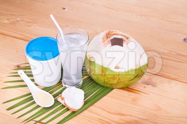 Refreshing natural coconut juice with yogurt drinks helps food digestion