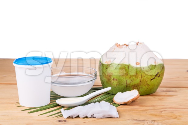 Coconut juice with yogurt helps reduce wrinkles and skin ageing Stock Photo