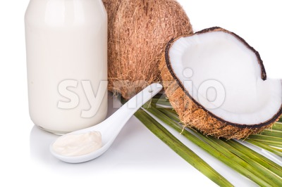 Jar containing coconut oil are used as cooking ingredient Stock Photo
