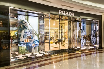 KUALA LUMPUR, MALAYSIA, May 20, 2016:  Prada boutique at KLCC, Kuala Lumpur.  Prada S.p.A. is an Italian luxury fashion house founded in 1913 by Mario Stock Photo