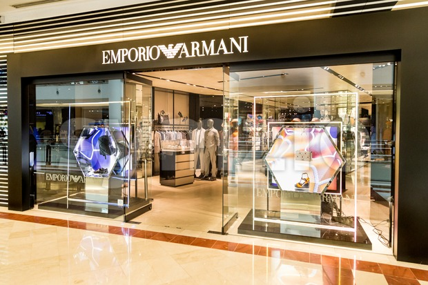 KUALA LUMPUR, MALAYSIA, May 20, 2016: An Emporio Armani outlet in KLCC, Kuala Lumpur.  Armani is an international fashion house, founded in 1975 by Stock Photo