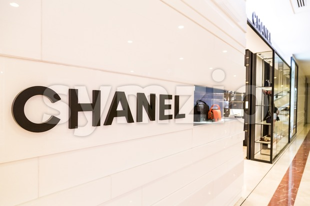 KUALA LUMPUR, MALAYSIA, May 20, 2016: CHANEL signage at its outlet at KLCC, Kuala Lumpur. CHANEL operates some 310 Chanel boutiques worldwide. Coco Stock Photo