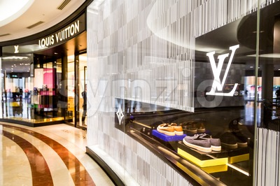KUALA LUMPUR, MALAYSIA, May 20, 2016: A Louis Vuitton LV outlet in KLCC, Kuala Lumpur., with selective focus on the LV signage.  The Louis Vuitton Stock Photo