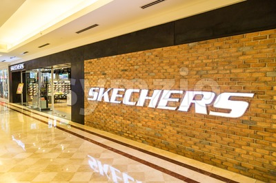 KUALA LUMPUR, MALAYSIA, May 20, 2016: Sketchers outlet at KLCC, Kuala Lumpur, with focus on its wall signage.  Skechers is an American shoe company Stock Photo