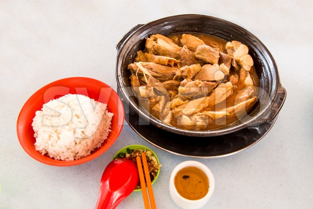 Simple and authentic Bak Kut Teh dish with rice Stock Photo