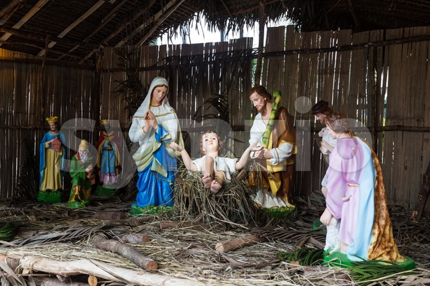 Christmas decorative creche with Holy family of Joseph, Mary, baby Jesus Christ and the wise men