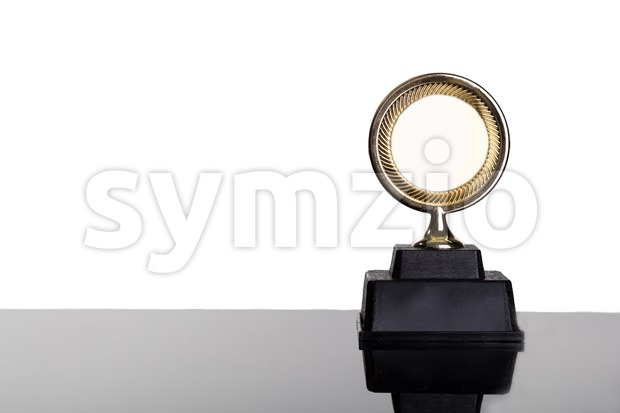 Gold medal trophy on white background Stock Photo