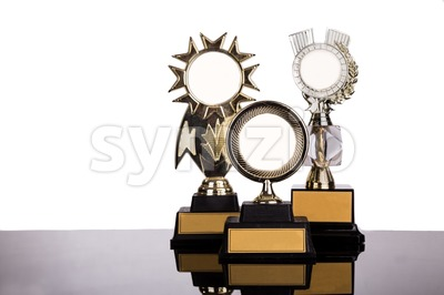 Group of gold medal trophy on white background Stock Photo