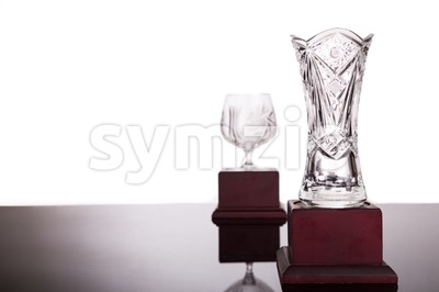 Two crystal trophies with focus on vase trophy at foreground Stock Photo