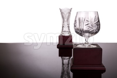 Two crystal trophies with focus on cup trophy at foreground Stock Photo