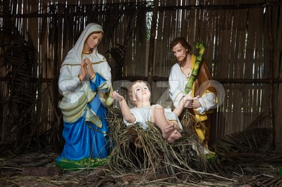 Christmas decorative creche with Holy family Stock Photo