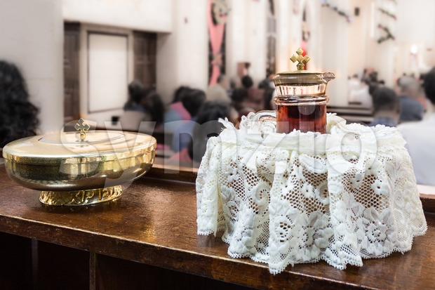 Catholics bread and wine in chalice with crucifix Stock Photo