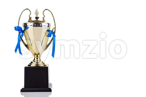 Elegant gold trophy with blue decorative ribbons on white background