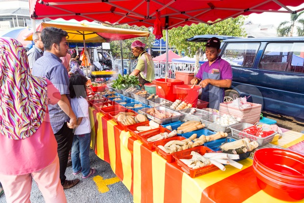 Street food bazaar in Malaysia catered for iftar during Ramadan fasting month Stock Photo