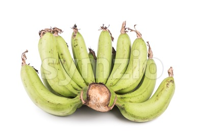 Bunch of sweet organic green banana on white background Stock Photo