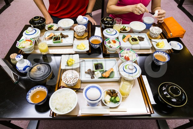 Japanese typical healthy breakfast set Stock Photo