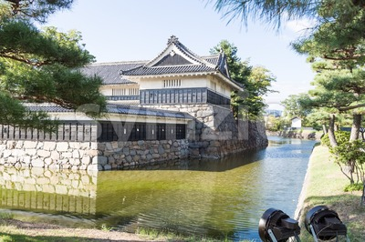 Matsumoto castle against blue sky during summer Stock Photo
