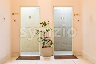 Entrances to men and ladies washroom Stock Photo