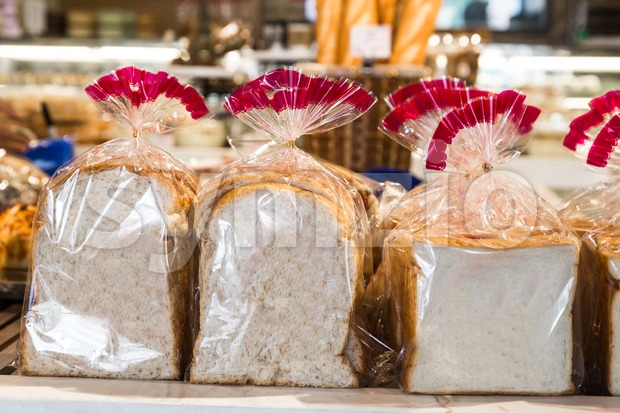 Organic gluten free bread in plastic wrapper Stock Photo