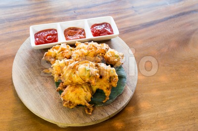Cucur bawang or onion fritters, popular Malaysia food Stock Photo