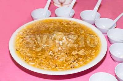 Serving of shark fins crab meat delicacy, popular among Chinese Stock Photo