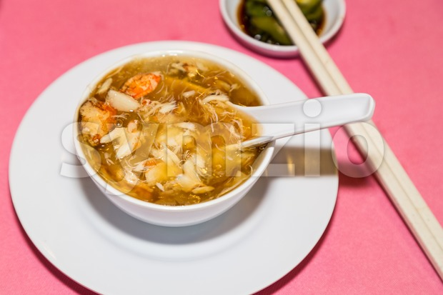 Serving of shark fins crab meat delicacy, popular among Chinese during weddings and festivals