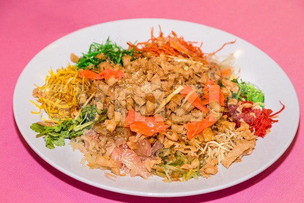 Yee Sang or Yusheng, traditional Chinese New Year prosperity delicacies Stock Photo