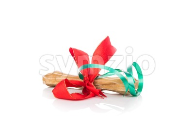 Dog bone Christmas gift wrapped with green and red ribbon Stock Photo