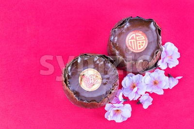 Glutinous rice cake with Good Luck in Chinese words Stock Photo