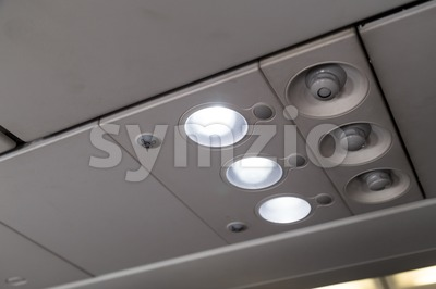 Aircraft cabin reading light and air-con blower Stock Photo