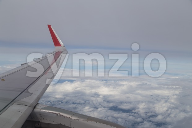Series of scenic atmosphere view from plane window during flight Stock Photo