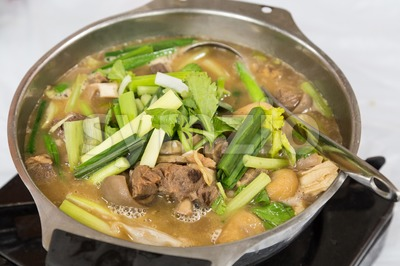 Hot pot lamb stew popular during winter Hong Kong Stock Photo