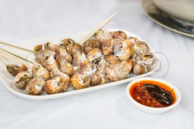 Sea snails is delicacy among Chinese in Hong Kong Stock Photo