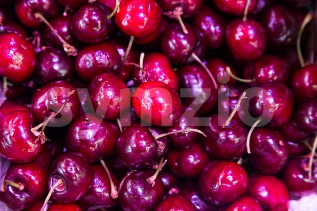 Heap of freshly harvested sweet and juicy organic cherries with stem