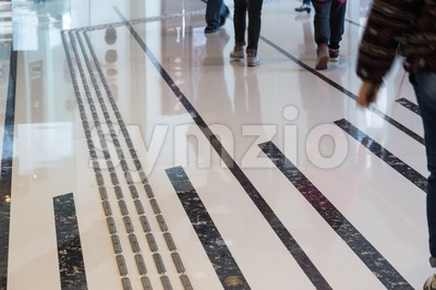 Indoor tactile paving foot path for the blind Stock Photo