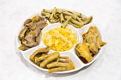 Chinese goose web feet, intestine, gizzard and seaweed delicacy platter Stock Photo