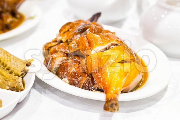 Chinese bbq roast goose served on plate Stock Photo
