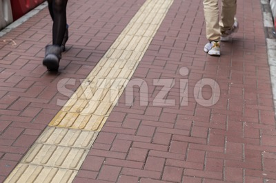 Outdoor tactile paving foot path for the blind Hong Kong Stock Photo