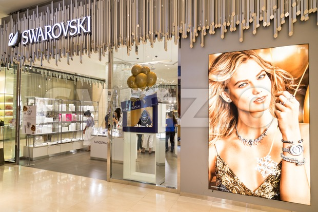 KUALA LUMPUR, MALAYSIA -  January 29, 2017: Swarovski AG is an Austrian producer of cut lead glass, headquartered in Wattens, Austria with outlet in Stock Photo