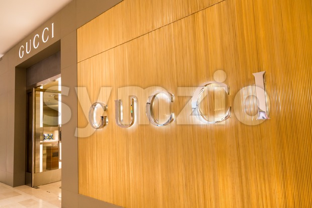 KUALA LUMPUR, MALAYSIA -  January 29, 2017: Gucci, Italian luxury brand of fashion and leather goods with shop in ...