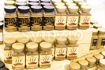 KUALA LUMPUR, MALAYSIA -  January 29, 2017: UCC offers variety of Japanese award winning instant coffee blend at retail stores. Stock Photo