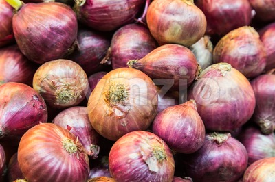 Heaps of fresh red onion bulb Stock Photo
