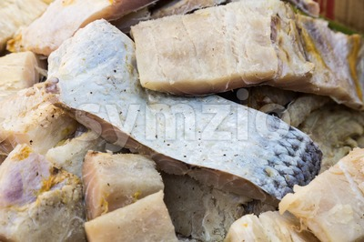 Closeup and focus on a portion of preserved salted fish Stock Photo