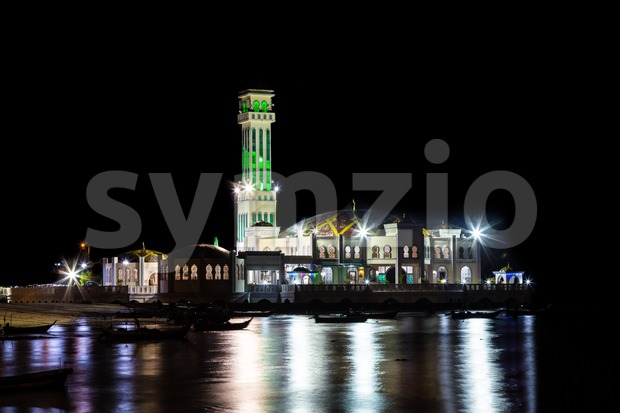 PENANG, MALAYSIA, December 25, 2015: Tanjung Bungah Floating Mosque is one of the popular tourist attraction in Penang. Stock Photo