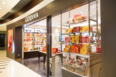 HONG KONG, January 29, 2017: Godiva chocolate outlet in Hong Kong. Godiva Chocolatier is a manufacturer of premium chocolates founded in Belgium in Stock Photo