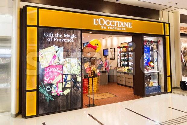 HONG KONG, January 29, 2017: L'Occitane, is an international retailer of body, face, fragrances and home products based in Manosque, France with Stock Photo