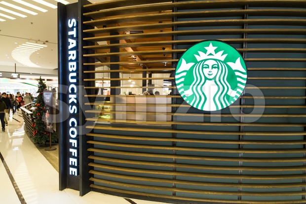HONG KONG, January 29, 2017: Starbucks Corporation is an American coffee company and coffeehouse chain. with outlets globally including Hong ...