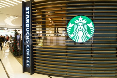 HONG KONG, January 29, 2017: Starbucks Corporation is an American coffee company and coffeehouse chain. with outlets globally including Hong Kong. Stock Photo