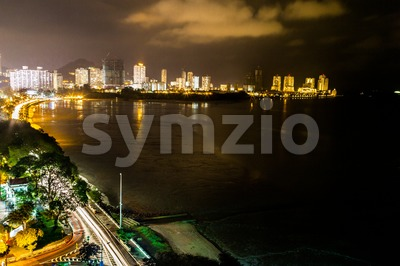 Night view of Gurney Drive, Penang popular tourism destination Stock Photo
